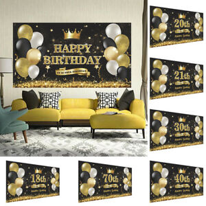 HAPPY BIRTHDAY NAME PARTY BANNERS 18TH 21ST 30TH 40TH ANY AGE MEN WOMEN 1PC Flag