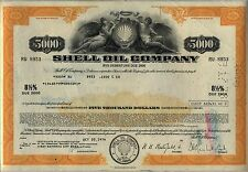 $5,000 Shell Oil Company Bond Stock Certificate Gas Royal Dutch