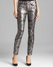 0932749b NWT 7 FOR ALL MANKIND Sz24 SEQUINED SILVER SKINNY LEGGING SEQUIN SILVER $295