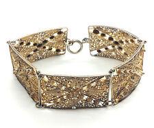 """Vintage Filigree Design Panels Sterling Silver 925 Bracelet 22g 7.75"""" B1088"""