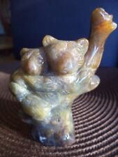 "CARVED 4"" 247g SUNSET AGATE KOALA BEAR OR BEAR W/ CUB IN TREE FIGURINE STATUE"