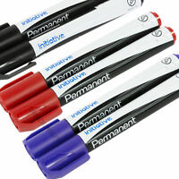 Coloured Permanent Marker Pens Bullet Tip Waterproof Office - Black / Blue / Red