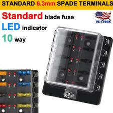 12V/24V 10 WAY BLADE FUSE BOX HOLDER BUS BAR W/ LED FAILURE WARNING LIGHTS ATC