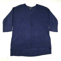 Eileen Fisher Pullover Sweater Jumper Womens L Blue V Neck Wool Blend Longline