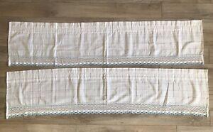 Set Pair 2 Light Blue White Valences Country Crocheted Lace Trim Plaid 60 X 14