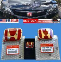 OEM 3pcs Honda Civic Sedan 4Dr 06-15 Red JDM H Front Rear Steering emblem grille