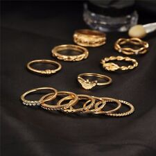 12pc/set Gold Midi Finger Ring Set Vintage Punk Boho Knuckle Party Rings Jewelry