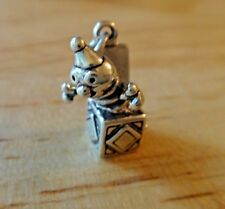 Sterling Silver 3D 13x18mm Jack in the Box Toy Baby Clown Charm