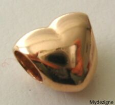 GENUINE SOLID 9K 9ct ROSE GOLD LARGE CHARM LOVE HEART BEAD