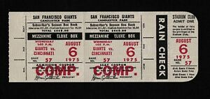 1975 Tony Perez HR #254 Full ticket stub comp San Francisco Giants Reds