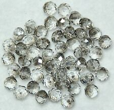 50 GLASS CRYSTAL FACETED 6 x 4mm DONUT  SUNCATCHER BEADS SILVER GREY (BBA002)