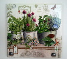 Wall Picture PLAQUE -  COTTAGE - Handmade / FRESH HERBS / DECOUPAGE / WOODEN