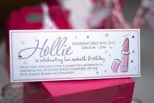 HANDMADE PAMPER INVITES  /  PERSONALISED SLUMBER MAKEOVER GIRLS PARTY 4 INVITES