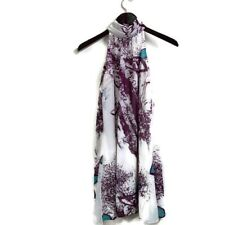 Poema Sz S Small Abstract Pattern Sleeveless Mock Neck Dress White Purple Blue