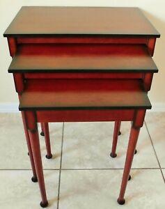 """Beautiful Set of 3 """"The Bombay Company"""" Mahogany Wood Nesting Accent Tables"""
