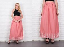 Vintage 70s Pink Boho Hippie Skirt High Waist Maxi Embroidered Floral Small S