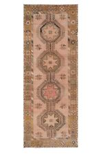 Muted Oushak Turkish Geometric Runner Rug Vegetable Dye Hand-Knotted 5x13 Carpet