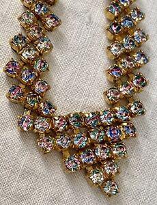 Vintage Rainbow Rhinestone Collar Necklace
