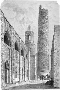 IRAN (KHUZESTAN)- SHUSHTAR: WALL and MINARET of the JUMA MASJID -Engraving 19th