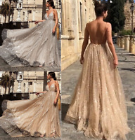 Backless Deep V Neck Spaghetti Strap Long Maxi Evening Cocktail Prom Party Dress
