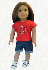 Doll Clothes Denim Shorts and Red Peace Shirt Fit 18 inch  American Girl