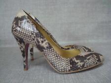 FAITH UK 7 BROWN & BEIGE REPTILE PRINT COURT SHOES