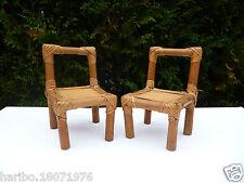 👿 Deux petites Chaises En Rotin Pour Poupée Vintage