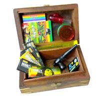 Smoking Wooden Stash Rolling Box Bob Marley Papers Filter Tips Grinder