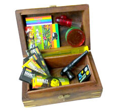 Smoking Wooden Stash Rolling Box Bob Marley Papers Filter Tips Grinder Snuff