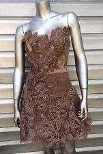 KAREN MILLEN Strapless Antique Rose Taupe Floral Embroidered Appliqué Lace Dress