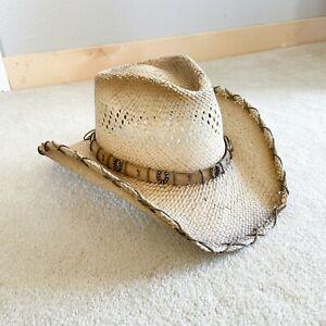 Austin Handmade Hats Size L Large Straw Horseshoe Hatband Western Cowboy Hat New