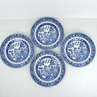 "Wessex Collection Blue Willow Dessert Bread Plates Set Of Four 6.75"" Vintage"