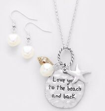 """BEACHY """"LOVE YOU TO THE BEACH AND BACK"""" SEA CHARM FAUX PEARL SHELL NECKLACE"""