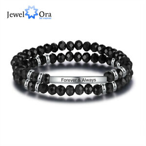 Free Engraving Names Women Bracelets Beaded Crystal Charm Cuff Bangle Xmas Gift