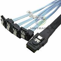 Mini SAS SFF-8087 36-PIN to 4 SATA 7-PIN HD Splitter 90 Degrees Cable Blue