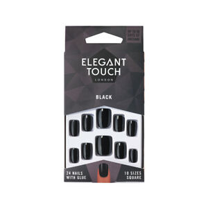 Elegant Touch 24 x BLACK SQUARE False Nail Tips & Glue Moisture Free POLISHED