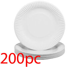 """200 X KINGFISHER WHITE DISPOSABLE 9"""" PAPER PLATES PARTY WEDDING CATERING TABLE"""