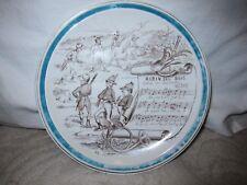 """Vtg Creil & Montereau Sujets Musicaux hand painted plate """"Robin des Bois"""" France"""