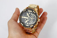 Fashion Men's Date Gold Stainless Steel Military Army Quartz Sport Wrist Watch