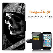 For Apple iPhone 5 5G 5S SE Wallet Flip Phone Case Cover Skull Halloween Y00757