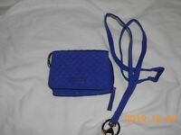 VERA BRADLEY RFID CARD CASE AND BREAKAWAY LANYARD ON GAGE BLUE--NWOT