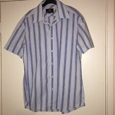 MENS BEN SHERMAN CASUAL SHIRT SHORT SLEEVED BLUE STRIPED SIZE MEDIUM NEW