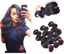 8A 300g/3bundles virgin brazillian bodywave human hair with closure uk seller