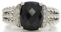 Designer Inspired Silver 10 x 8mm Petite Wheaton Ring with Black Onyx & Diamond