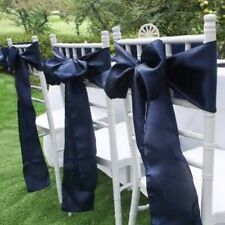 50x Navy Blue Satin Chair Sashes Bow Wedding Banquet Party Ceremony Decor