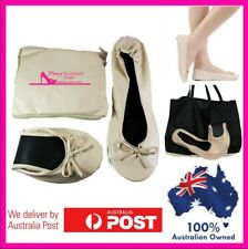 Beige Nude Roll up Fold Flats Expandable Pouch That Turns Into a Shoe Carry Bag Cream Foldable Flats Medium 7 to 8