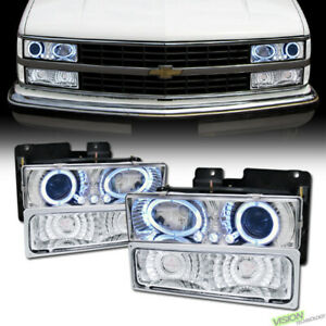 Chrome LED Halo Projector Headlights+Signal+Parking Yd For 88-00 Chevy/GMC C10