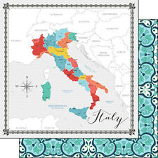"CUSTOM SCRAPBOOK PAPER SET ITALY ROME VENICE FLORENCE TRAVEL VACATION 12"" X 12"""