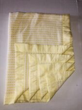 Vintage Yellow White Thermal Basket Weave Acrylic Satin Baby Blanket Lm