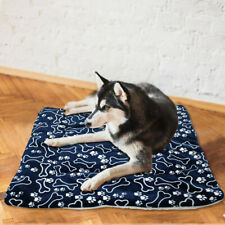Winter Large Dog Bed Mat Pet Cushion Blanket Warm Paw Print Puppy Cat Fleece Bed